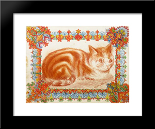 Ginger Cat In Decoration: Modern Black Framed Art Print by Louis Wain