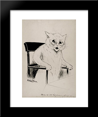 Hurry Up With That Dinner Please Or The Mice Joint Will Run Away: Modern Black Framed Art Print by Louis Wain