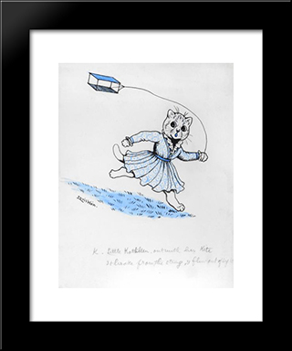 K. Little Kathleen, Out With Her Kite, It Broke From The String, And Flew Out Of Sight: Modern Black Framed Art Print by Louis Wain