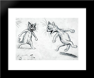 Laughing Cats: Modern Black Framed Art Print by Louis Wain