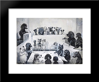 Law In Action: Modern Black Framed Art Print by Louis Wain