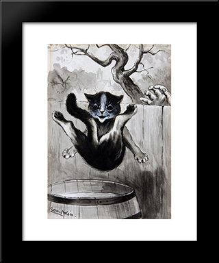 Old Song 'The Cat Came Back': Modern Black Framed Art Print by Louis Wain