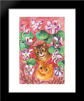 Pansies And Tabby: Modern Black Framed Art Print by Louis Wain