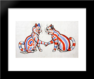 Striped Cats: Modern Black Framed Art Print by Louis Wain