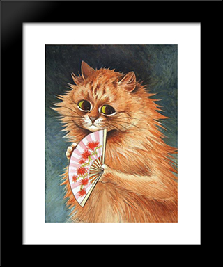 Study Of A Ginger Cat: Modern Black Framed Art Print by Louis Wain