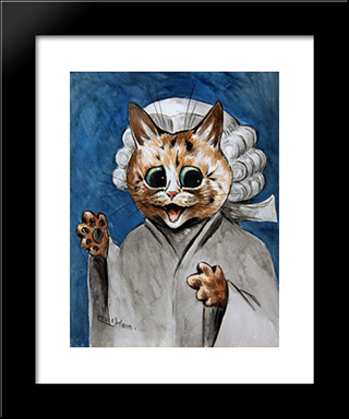 The Barrister: Modern Black Framed Art Print by Louis Wain