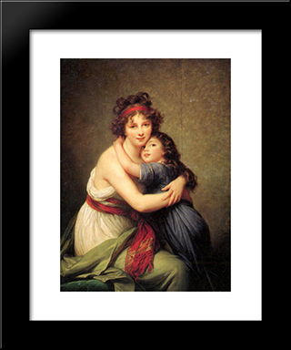 Madame Vigee Lebrun And Her Daughter, Jeanne Lucie Louise: Modern Black Framed Art Print by Louise Elisabeth Vigee Le Brun