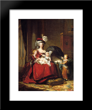Marie Antoinette And Her Children: Modern Black Framed Art Print by Louise Elisabeth Vigee Le Brun