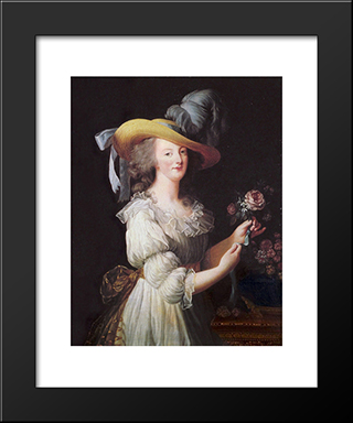 Marie Antoinette In A Muslin Dress: Modern Black Framed Art Print by Louise Elisabeth Vigee Le Brun