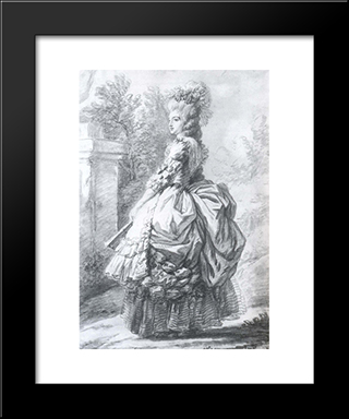 Marie Antoinette Walking In A Garden: Modern Black Framed Art Print by Louise Elisabeth Vigee Le Brun
