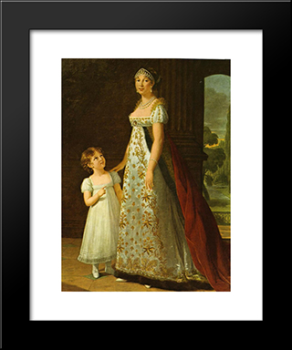 Portrait Of Caroline Murat With Her Daughter, Letizia: Modern Black Framed Art Print by Louise Elisabeth Vigee Le Brun