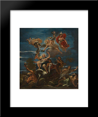 Allegory Of Justice: Modern Black Framed Art Print by Luca Giordano