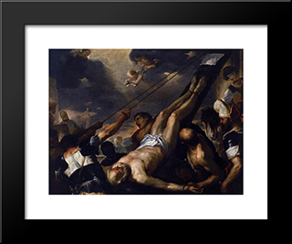 Crucifixion Of Saint Peter: Modern Black Framed Art Print by Luca Giordano