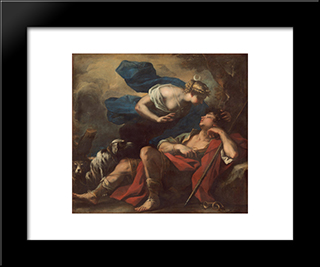 Diana And Endymion: Modern Black Framed Art Print by Luca Giordano