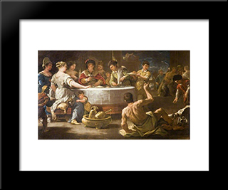 Dives And Lazarus: Modern Black Framed Art Print by Luca Giordano