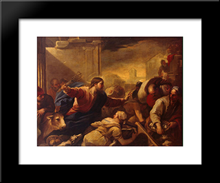 Expulsion Of The Moneychangers From The Temple: Modern Black Framed Art Print by Luca Giordano