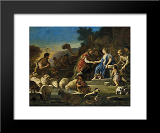 Jacob And Rachel At The Well: Modern Black Framed Art Print by Luca Giordano
