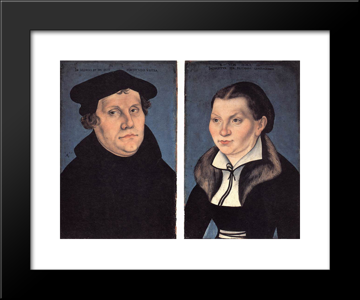 Diptych With The Portraits Of Martin Luther And His Wife: Modern Black Framed Art Print by Lucas Cranach the Elder