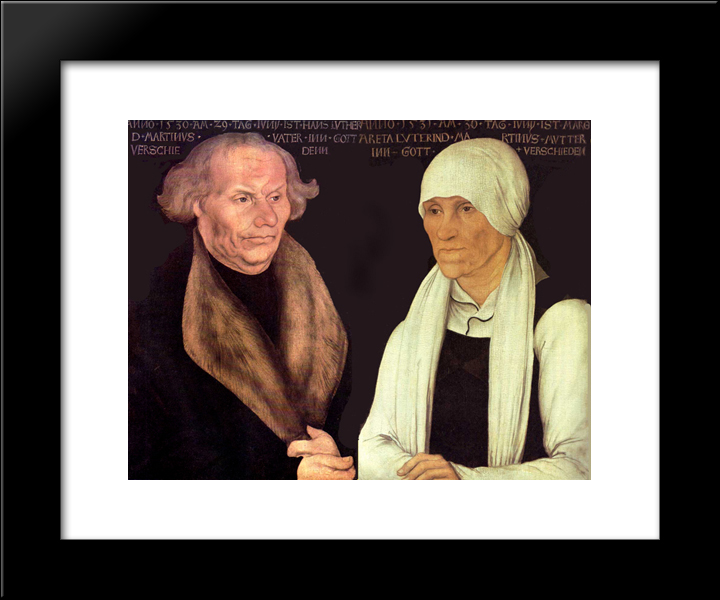 Hans And Magrethe Luther: Modern Black Framed Art Print by Lucas Cranach the Elder
