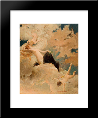 An Ethereal Beauty With Putti In The Clouds: Modern Black Framed Art Print by Luc Olivier Merson