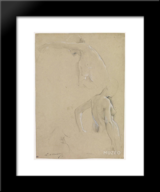 Female Nude Studies, A Mid-Body: Modern Black Framed Art Print by Luc Olivier Merson