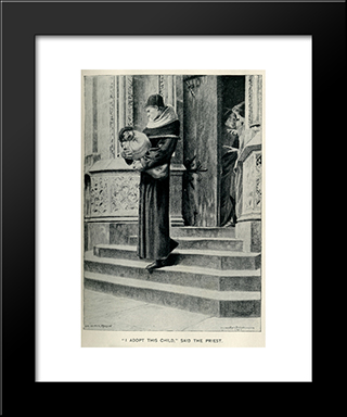 I Adopt This Child Said The Priest: Modern Black Framed Art Print by Luc Olivier Merson