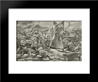In The Thick Of Battle, A Melee: Modern Black Framed Art Print by Luc Olivier Merson