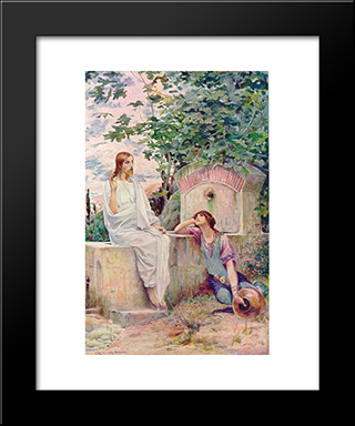 Jesus At The Well: Modern Black Framed Art Print by Luc Olivier Merson