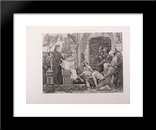 Louis Ix Opens The Jails Of France: Modern Black Framed Art Print by Luc Olivier Merson
