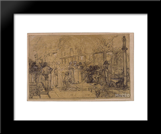Men And Women Singing And Playing Music: Modern Black Framed Art Print by Luc Olivier Merson