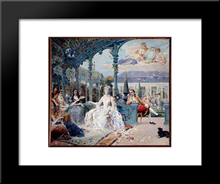 Miss Clermont And Count Melun At Pavilion Near Sylvie: Modern Black Framed Art Print by Luc Olivier Merson