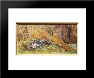 Pan And Chimera (Oil On Panel): Modern Black Framed Art Print by Luc Olivier Merson