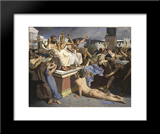 Pheidippides Giving Word Of Victory: Modern Black Framed Art Print by Luc Olivier Merson