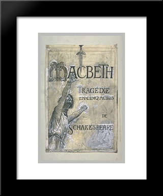 Projet De Frontispice Pour Macbeth: Modern Black Framed Art Print by Luc Olivier Merson