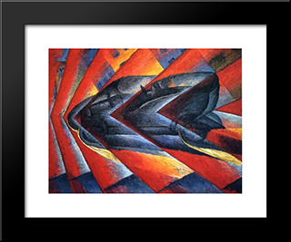 Dynamism Of A Car: Modern Black Framed Art Print by Luigi Russolo
