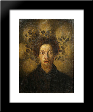 Self-Portrait With Skulls: Modern Black Framed Art Print by Luigi Russolo