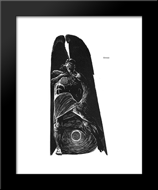 Genesis 32 (Jacob Wrestles With The Angel): Modern Black Framed Art Print by Lynd Ward