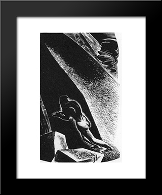 Song Without Words, Plate 12: Modern Black Framed Art Print by Lynd Ward