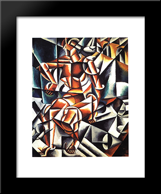 Air Man Space: Modern Black Framed Art Print by Lyubov Popova