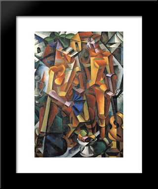 Composition With Figures: Modern Black Framed Art Print by Lyubov Popova