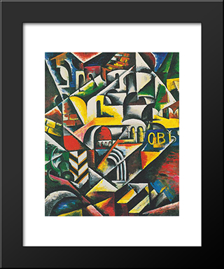 Cubist Landscape City: Modern Black Framed Art Print by Lyubov Popova