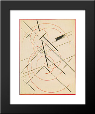Lineare Composition: Modern Black Framed Art Print by Lyubov Popova