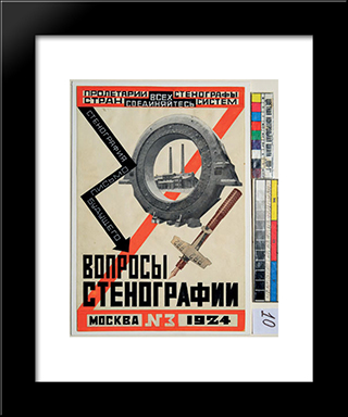 Magazine Cover Design For Questions Of Stenography: Modern Black Framed Art Print by Lyubov Popova