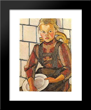 Portrait Of The Artist'S Sister: Modern Black Framed Art Print by Lyubov Popova