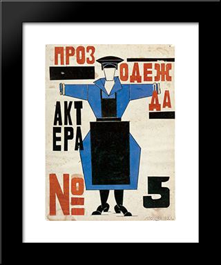 Production Clothing For Actor No.5' In Fernand Crommelynck'S Play 'The Magnanimous Cuckold': Modern Black Framed Art Print by Lyubov Popova