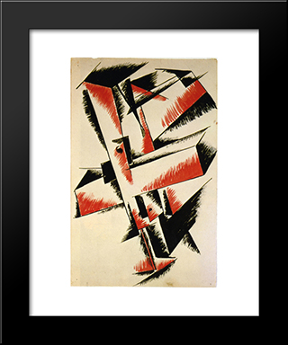 Spatial Force Construction: Modern Black Framed Art Print by Lyubov Popova