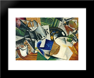Still Life With Tray: Modern Black Framed Art Print by Lyubov Popova