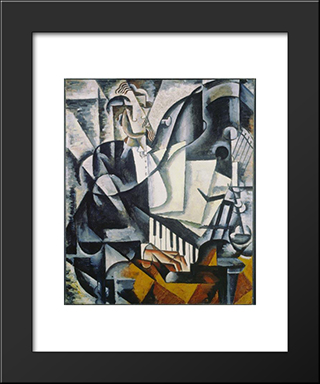 The Pianist: Modern Black Framed Art Print by Lyubov Popova