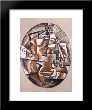 Violin: Modern Black Framed Art Print by Lyubov Popova