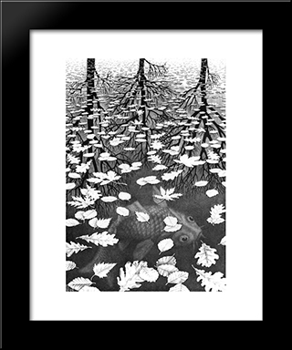 Three Worlds: Modern Black Framed Art Print by M.C. Escher